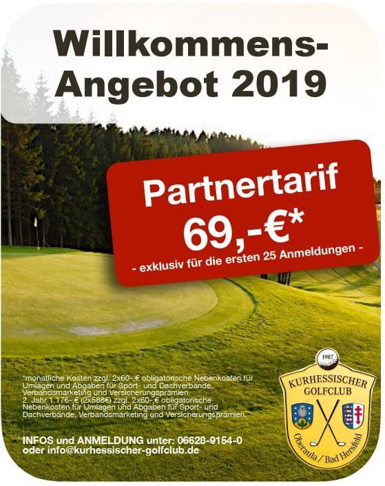 Kurhessischer Golfclub Willkommens Angebot Partnertarif 2019